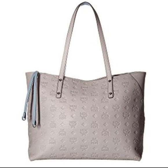 dddf405cc9 MCM Klara Monogrammed Leather Medium Shopper